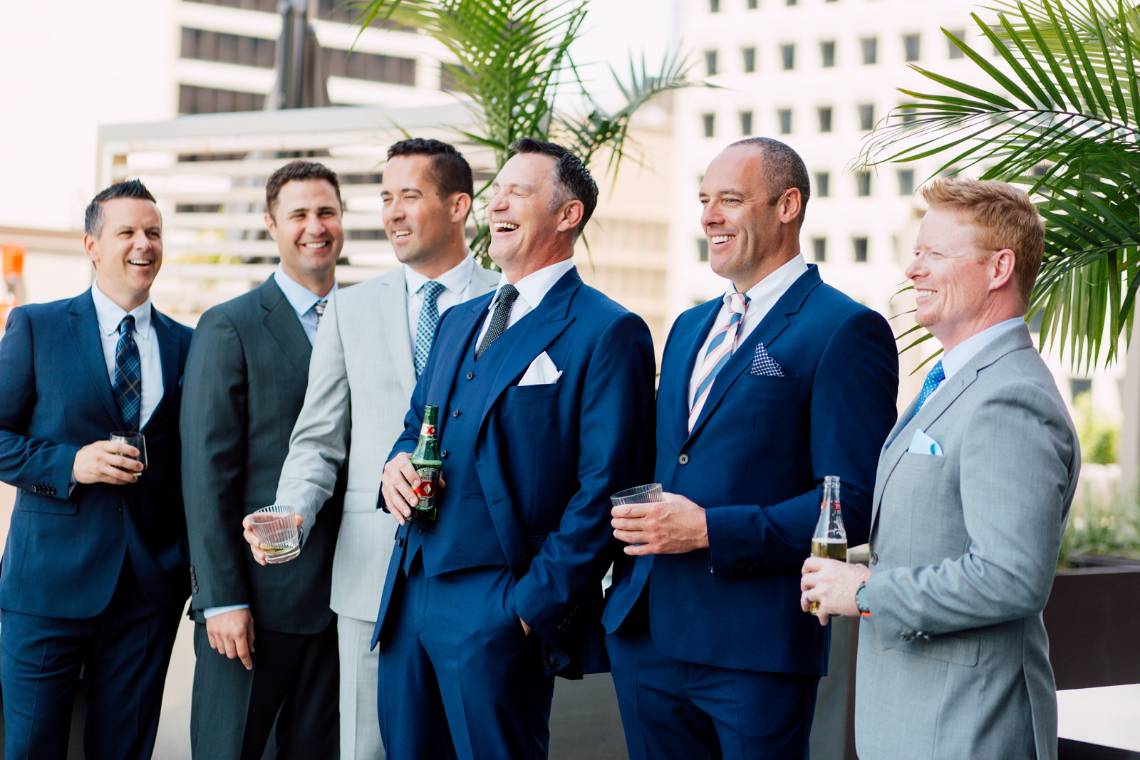 laughing groomsmen