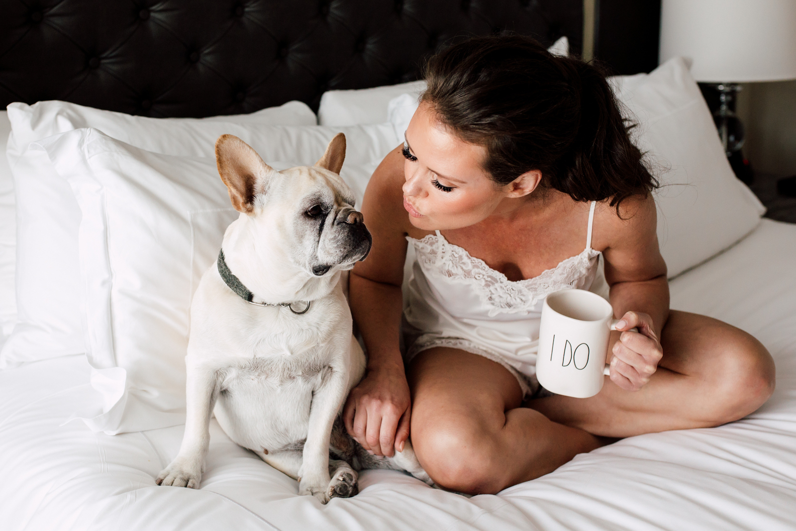 bride and french bulldog
