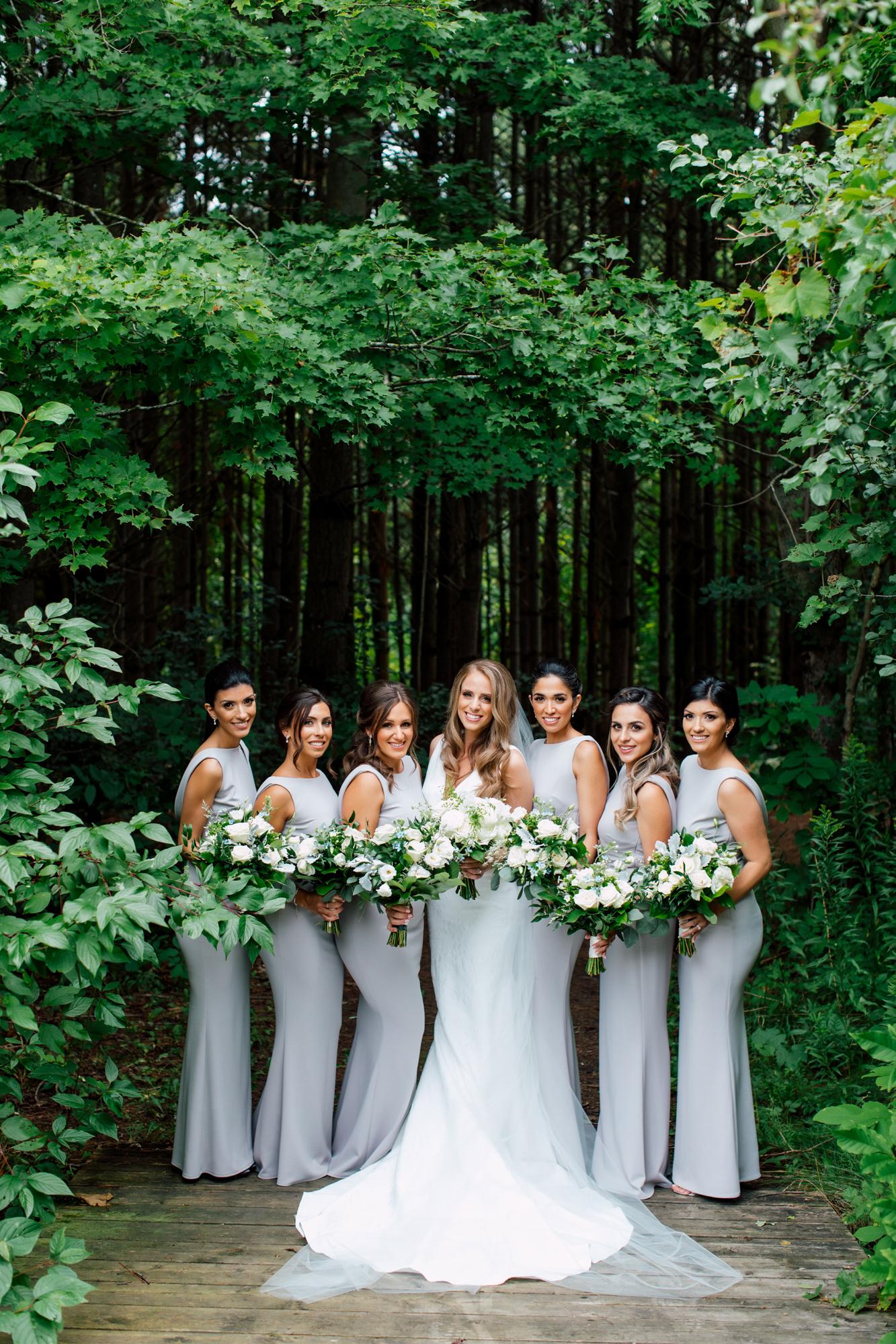 grey bridesmaids outdoors