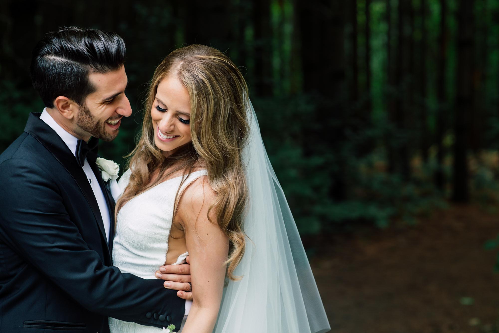 candid wedding bride and groom