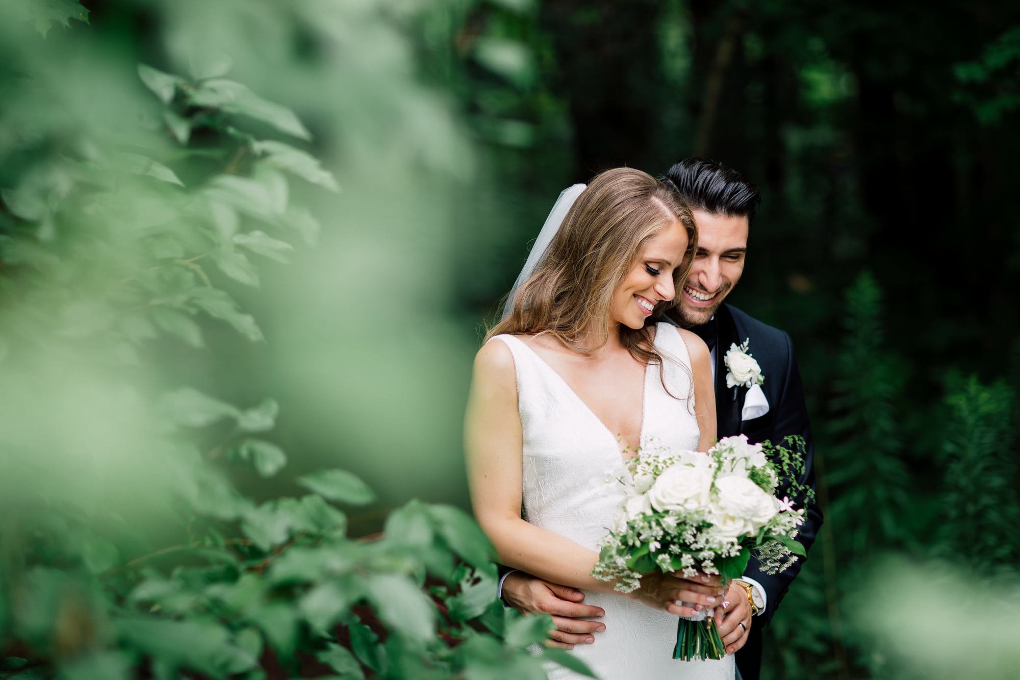 laughing outdoor wedding