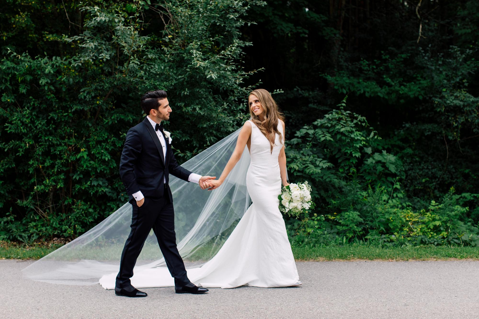 long veil forest wedding