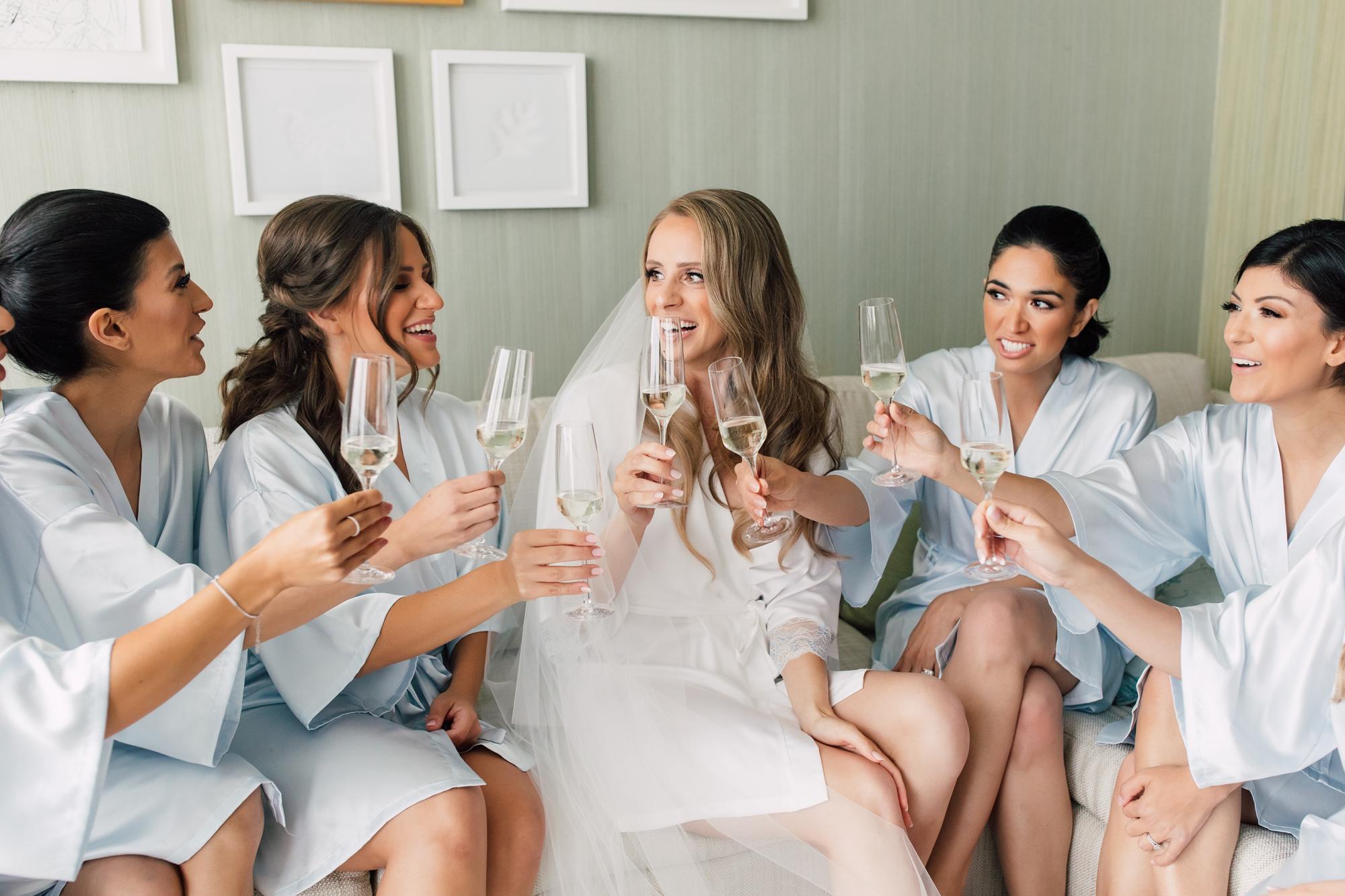 bridal bridesmaids champagne
