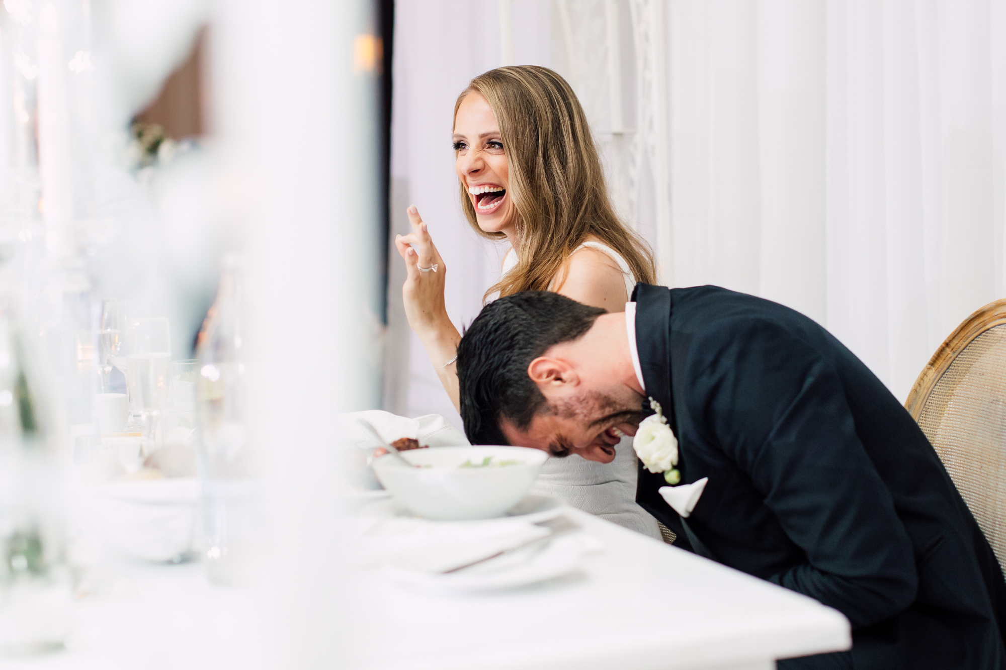 laughing bride and groom speech