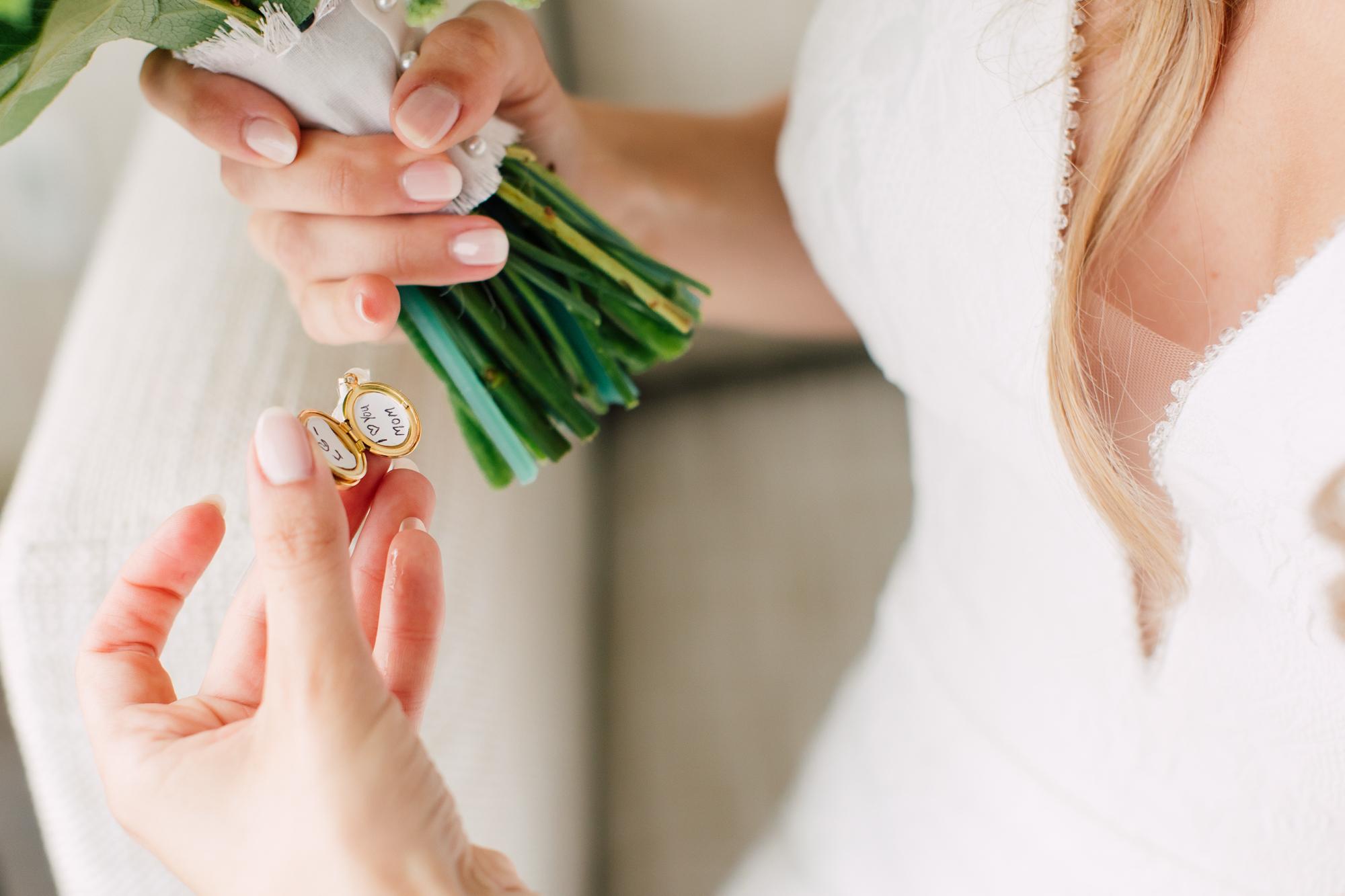 bride locket bouquet