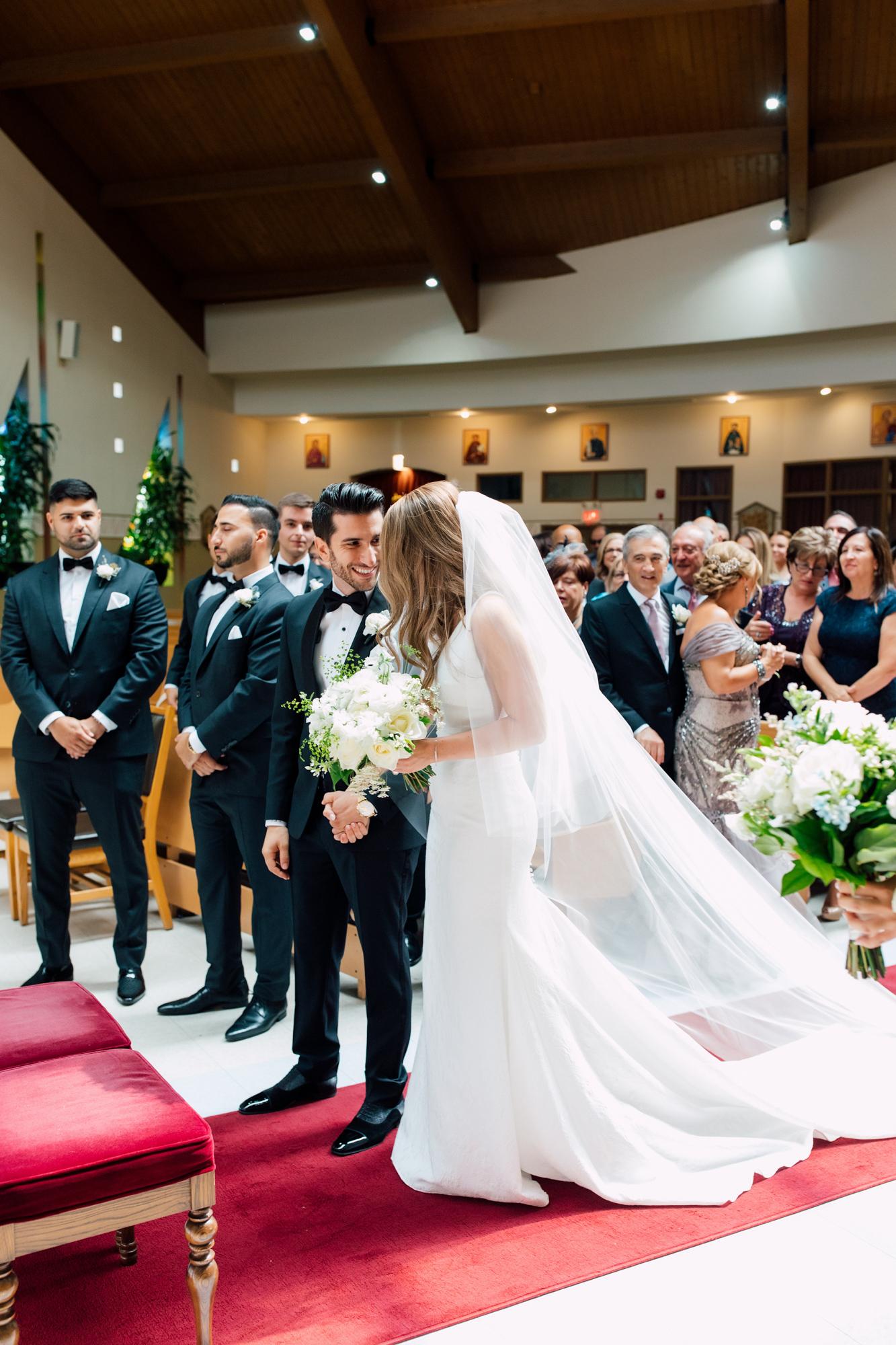 groom meeting bride