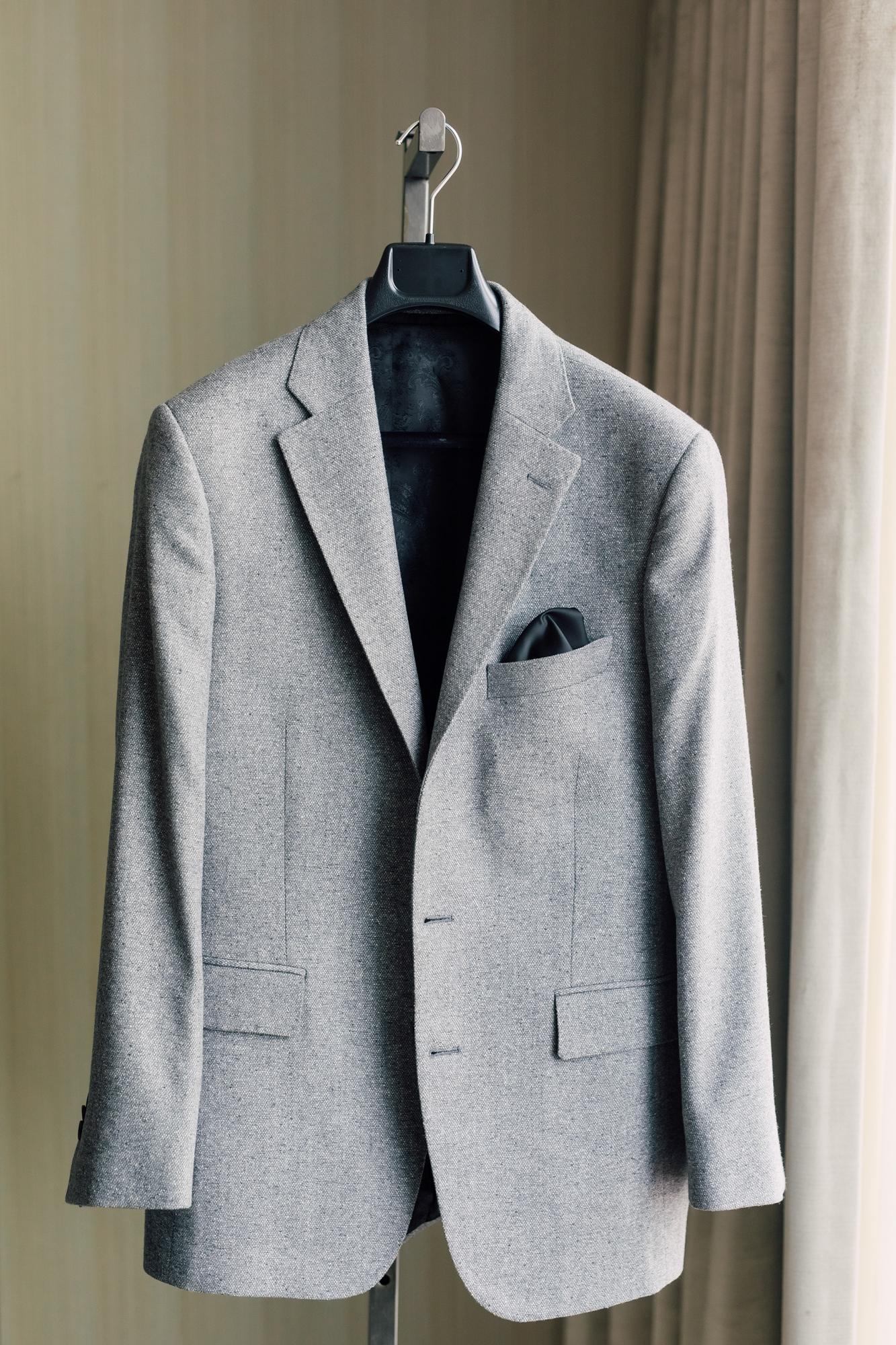 grey groom custom suit