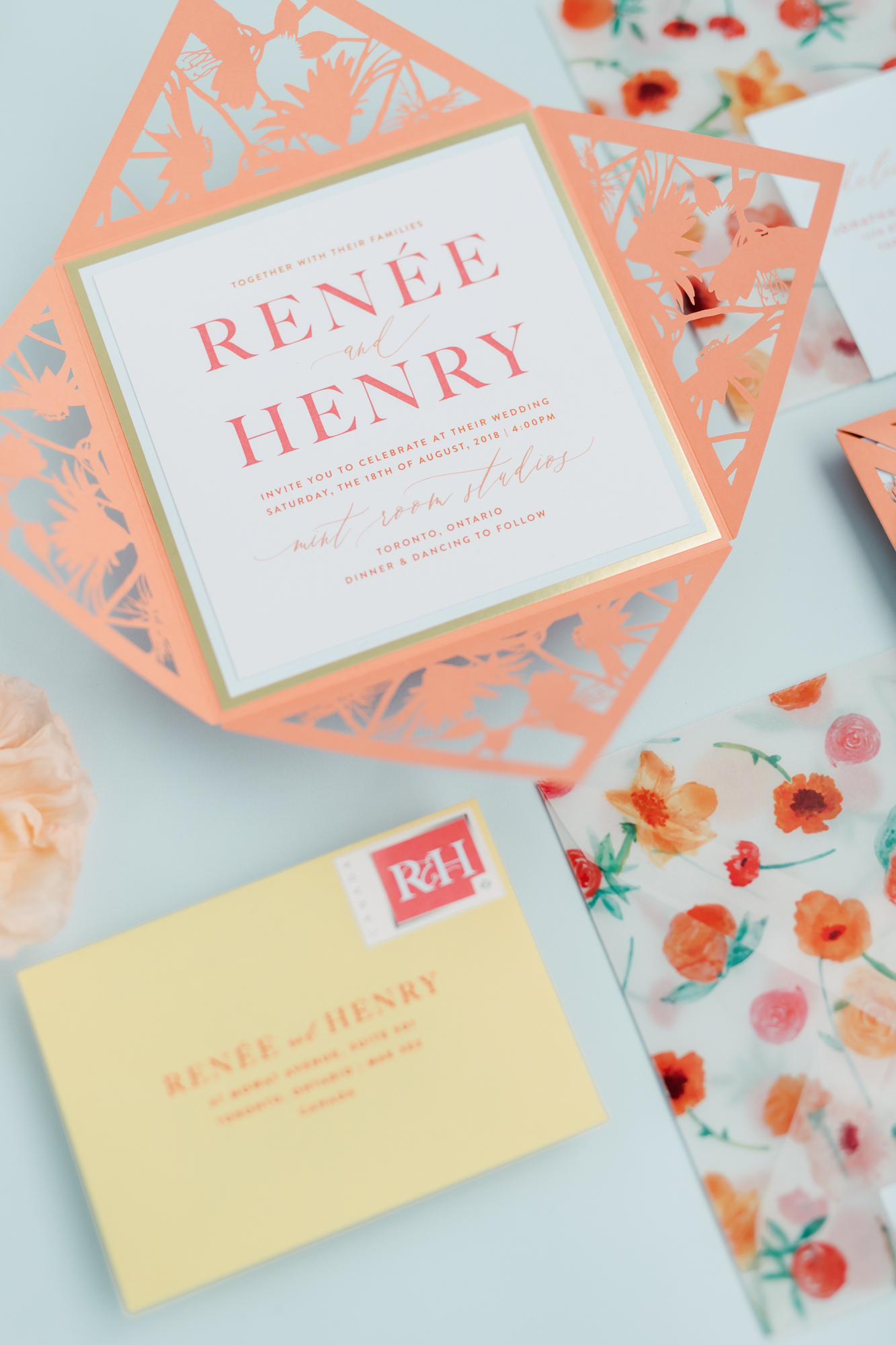 paper and poste wedding invitation