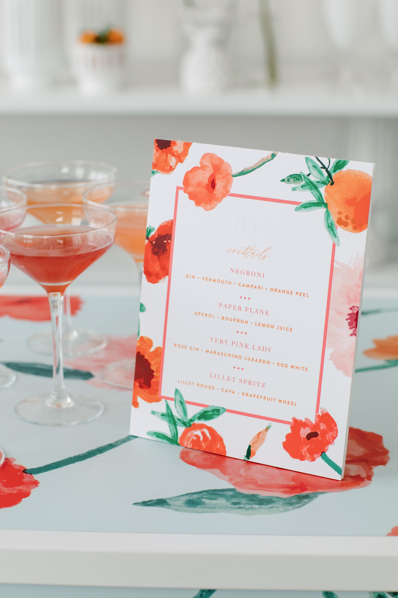 paper and poste floral menu