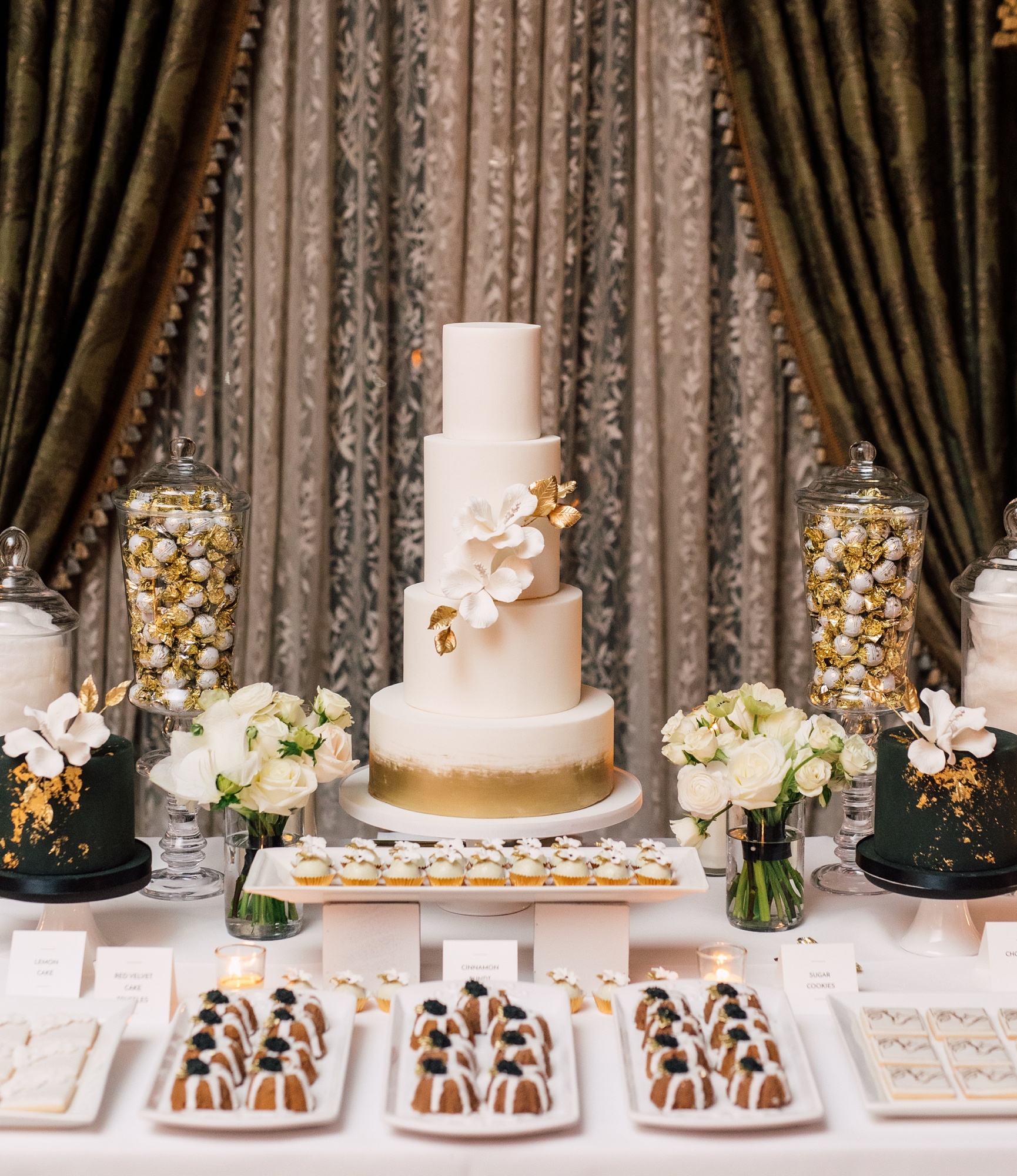 truffle cake and pastry wedding dessert table