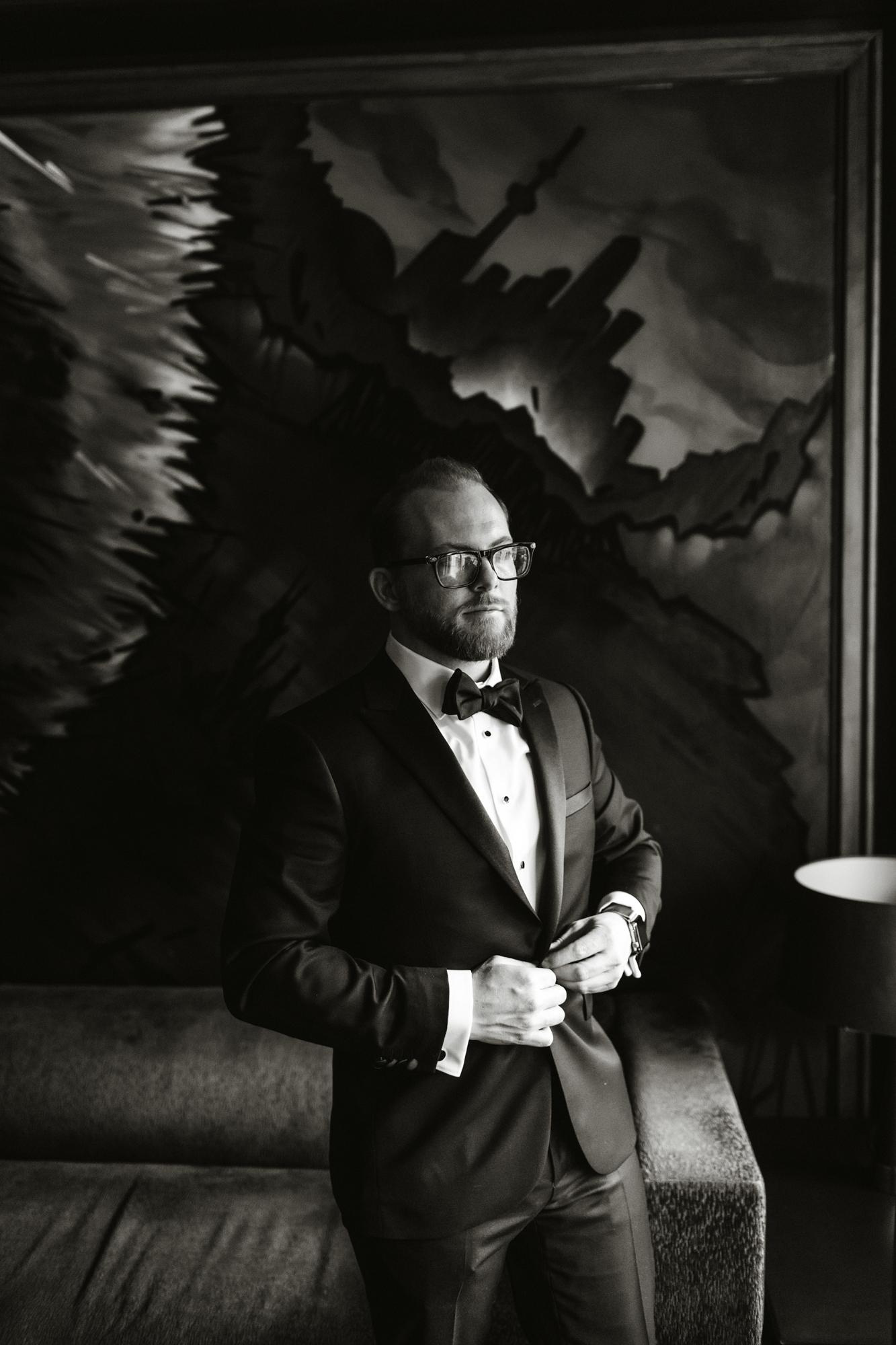 groom tuxedo portrait