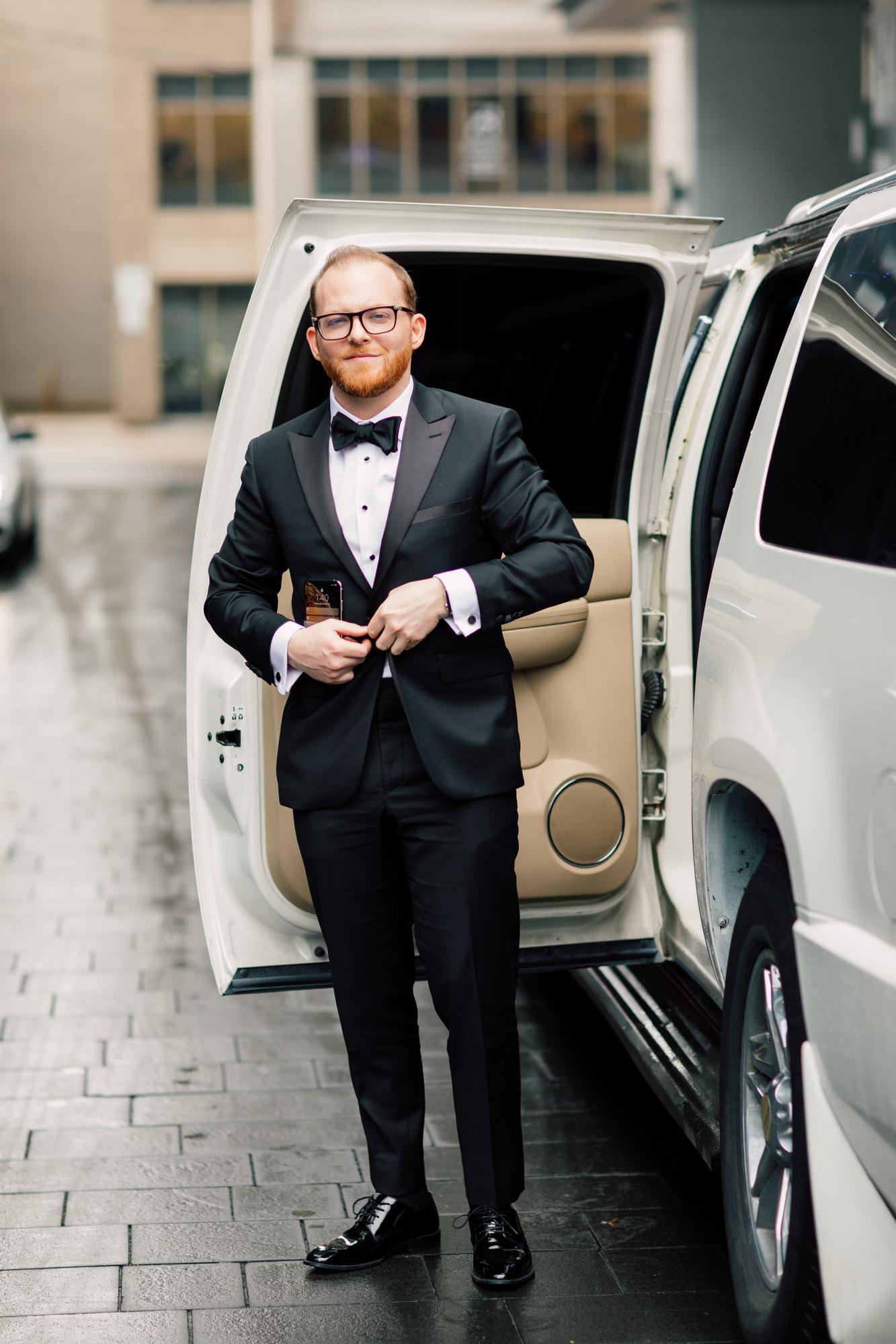 redhead groom tuxedo