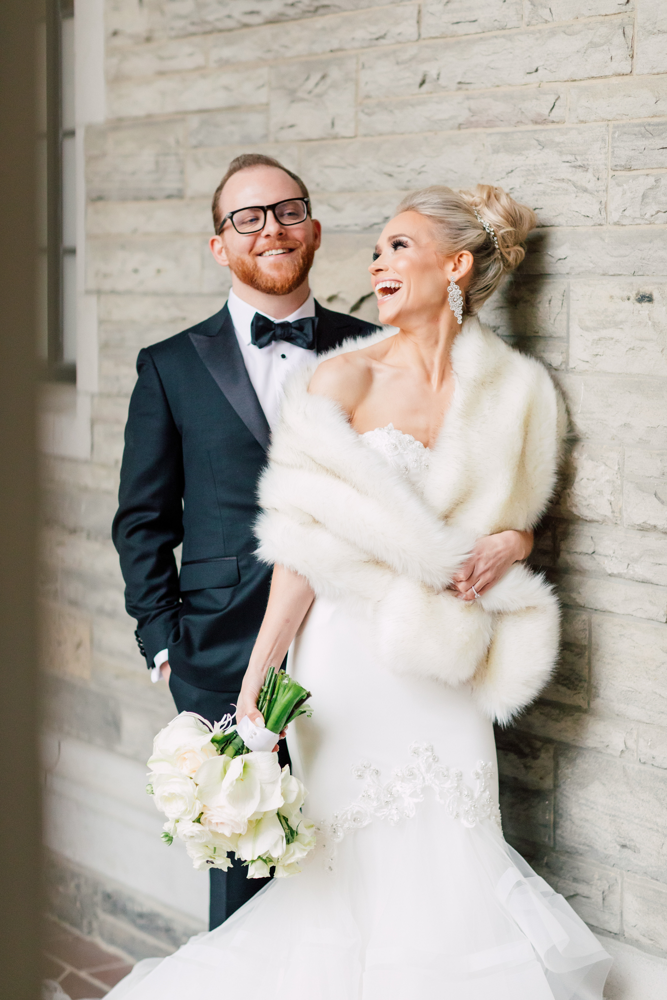 winter fur shawl bride