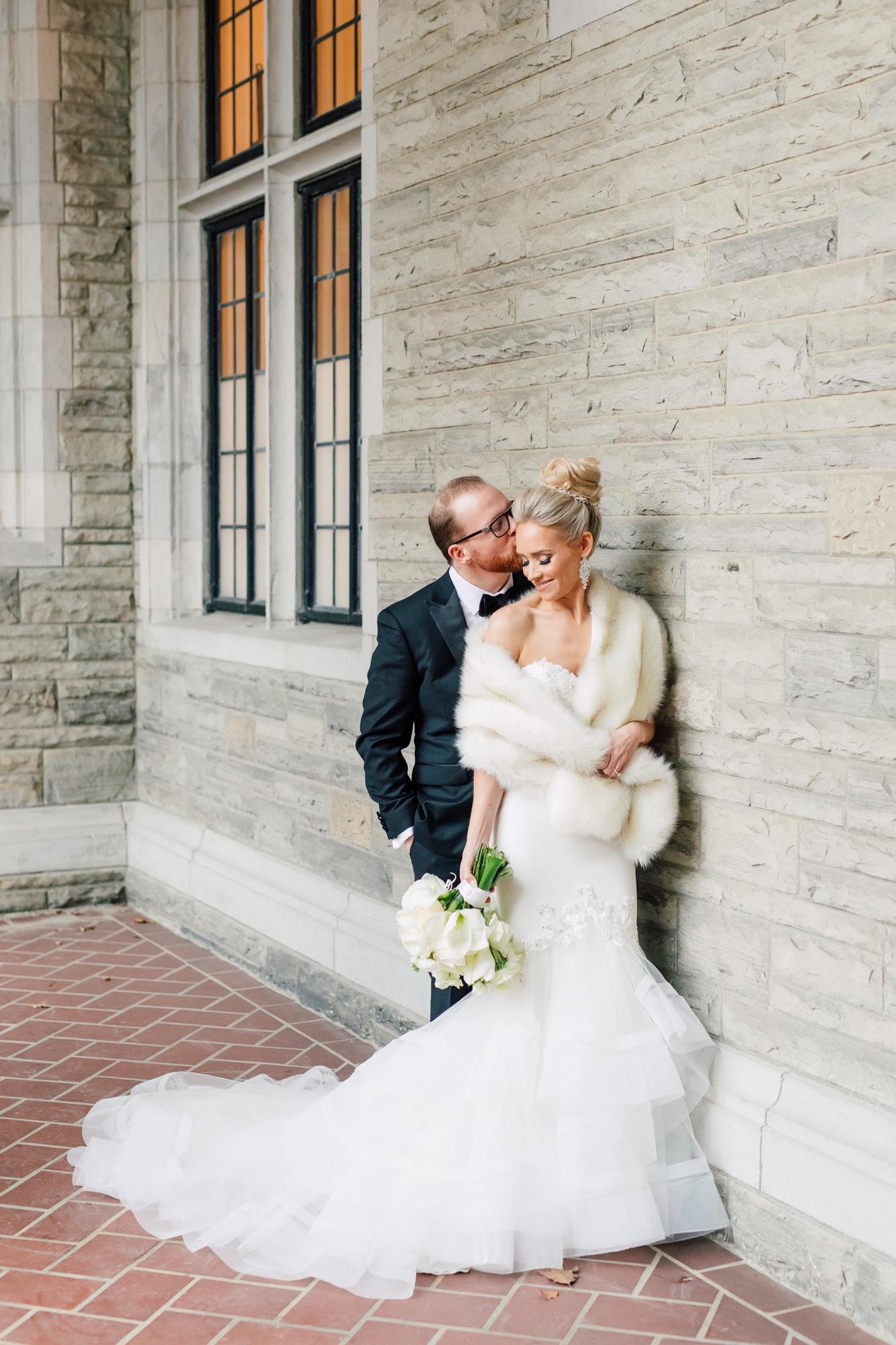enzoani fur shawl bride