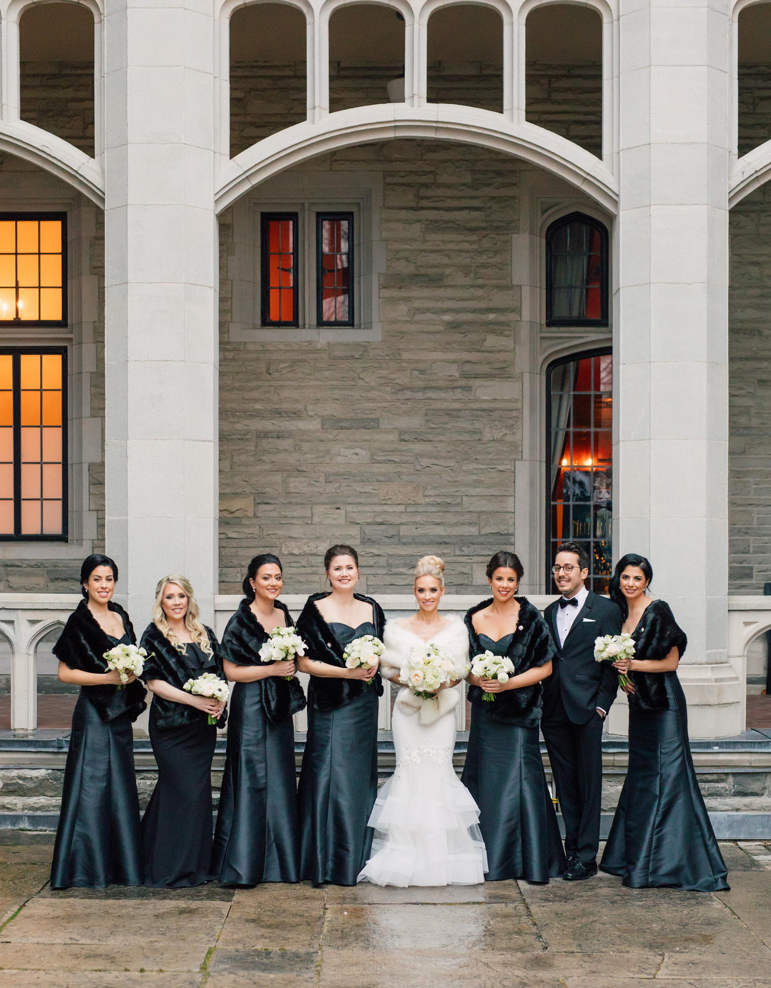 monochrome bridal party