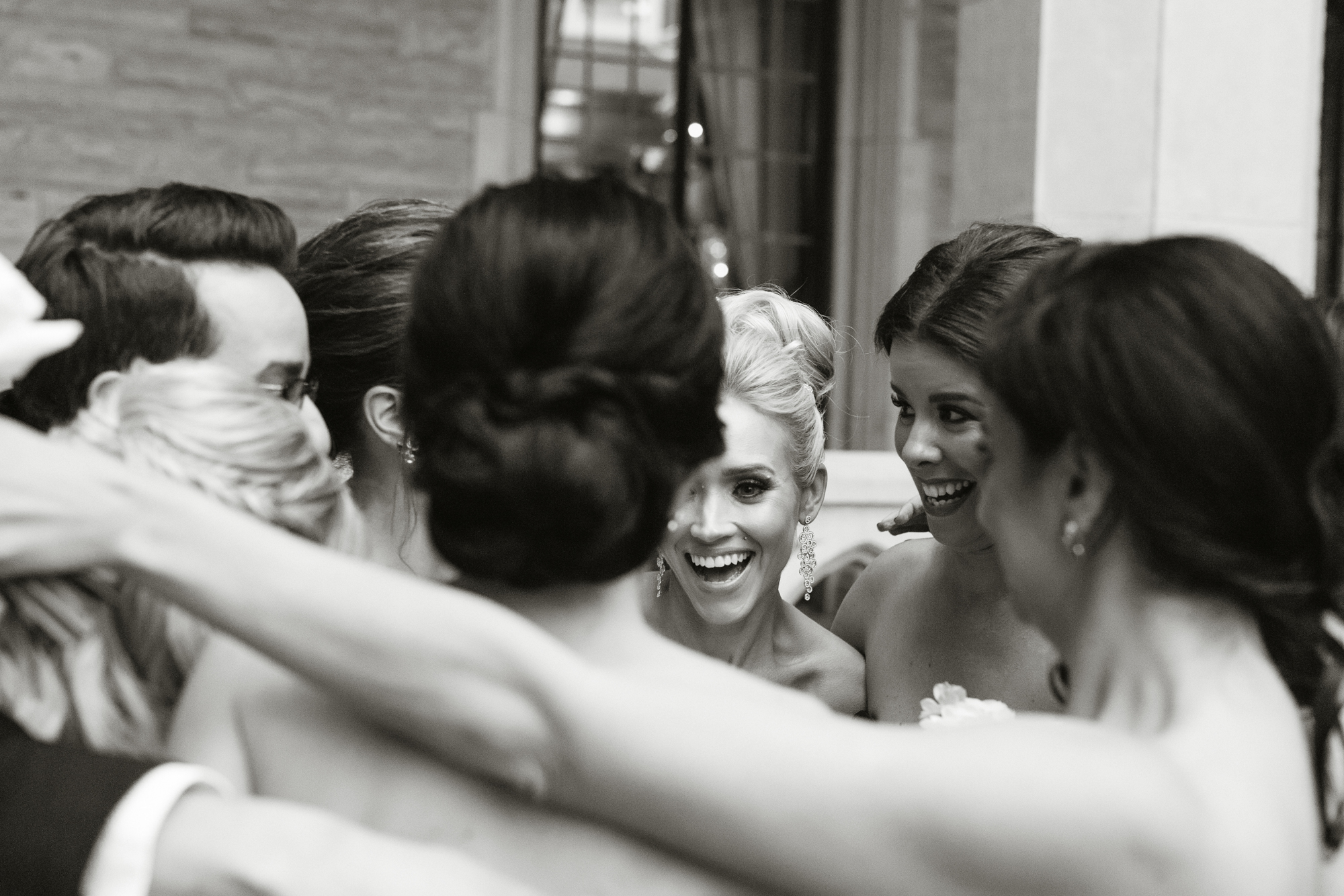 laughing candid bridesmaids