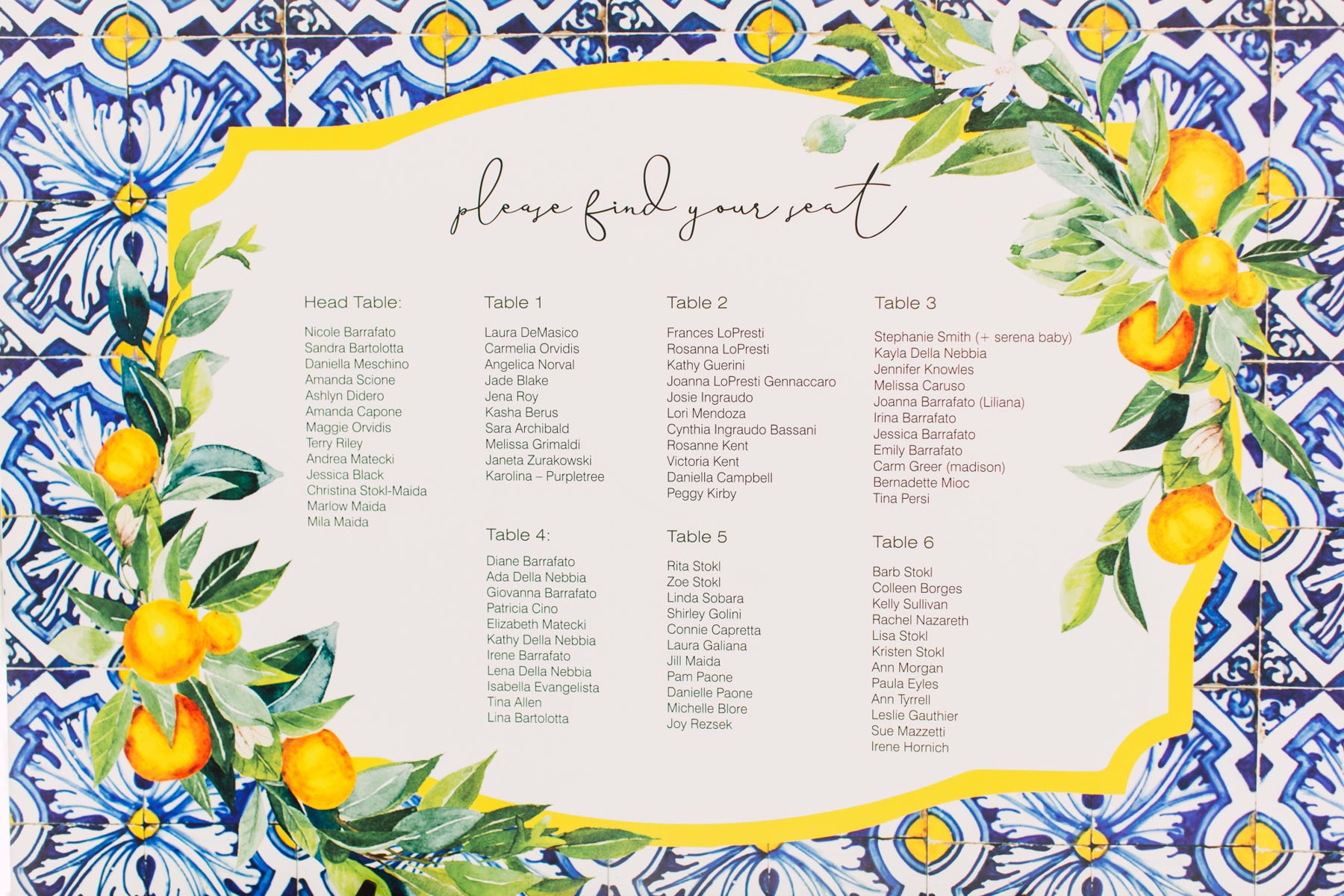 Bridal Shower, Italian Themed Bridal Shower, Seating Chart