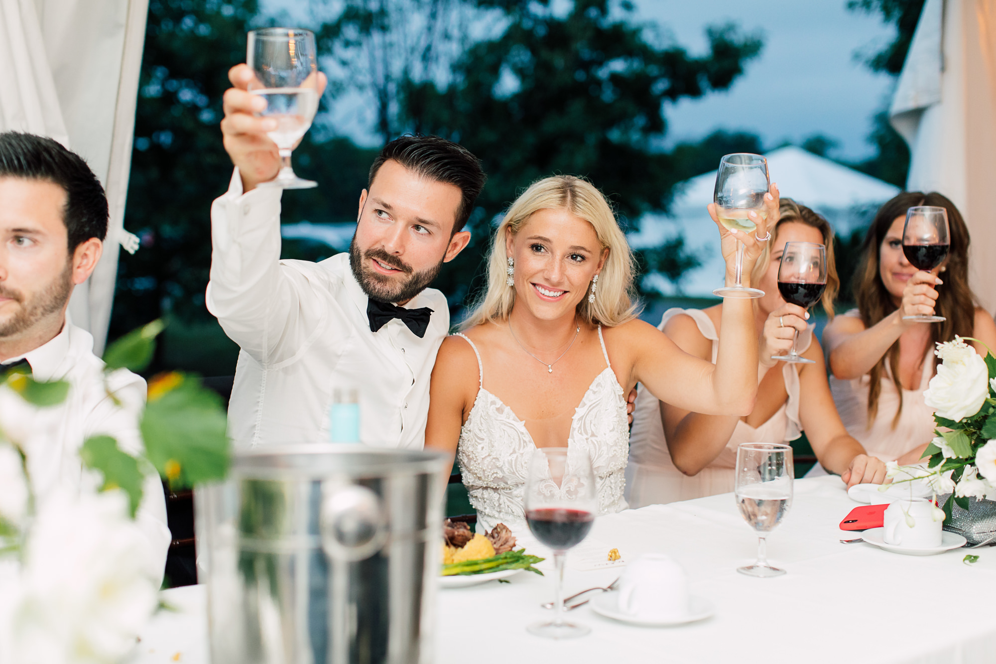 toasting bride groom