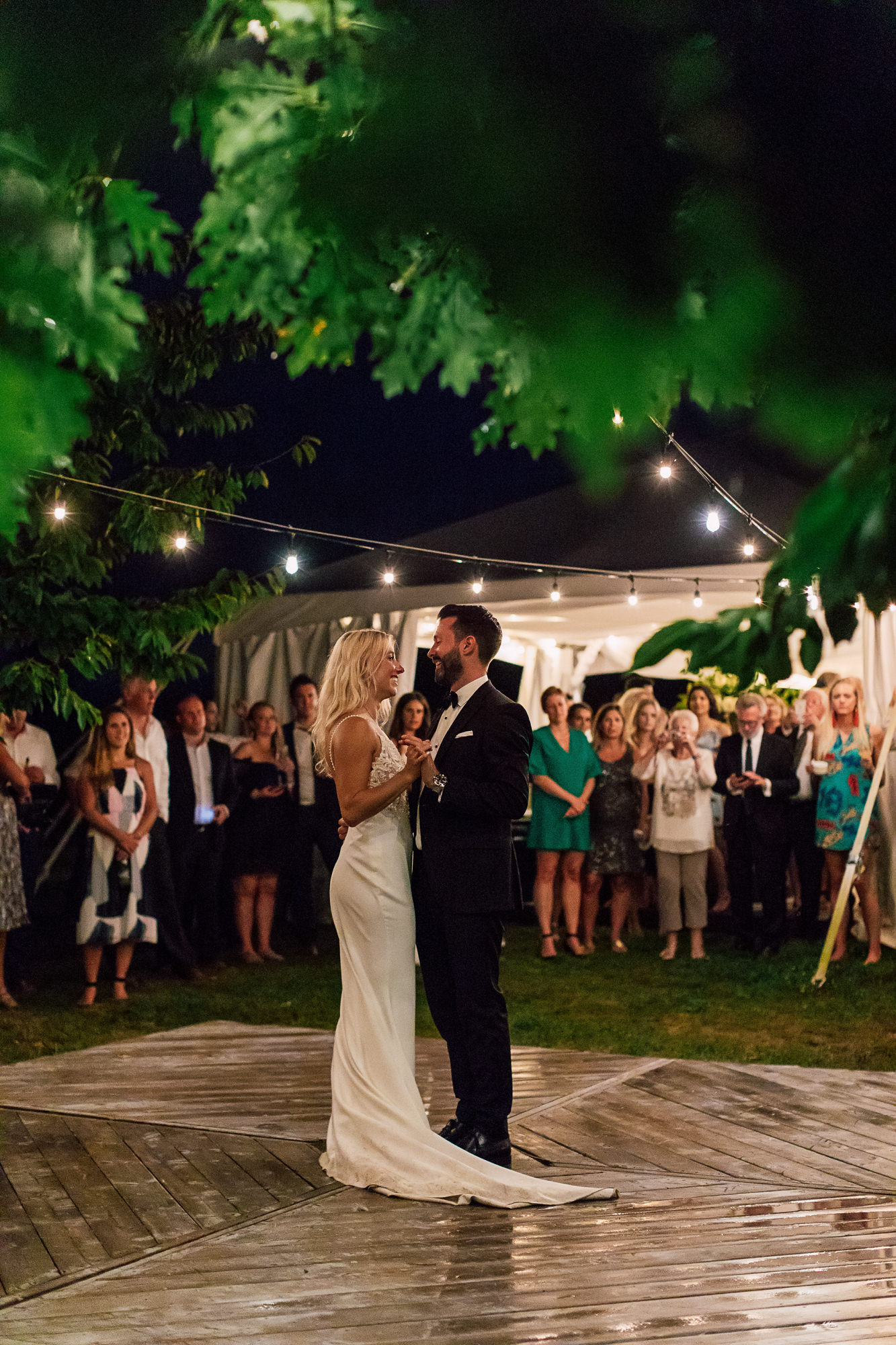patio lights bride groom