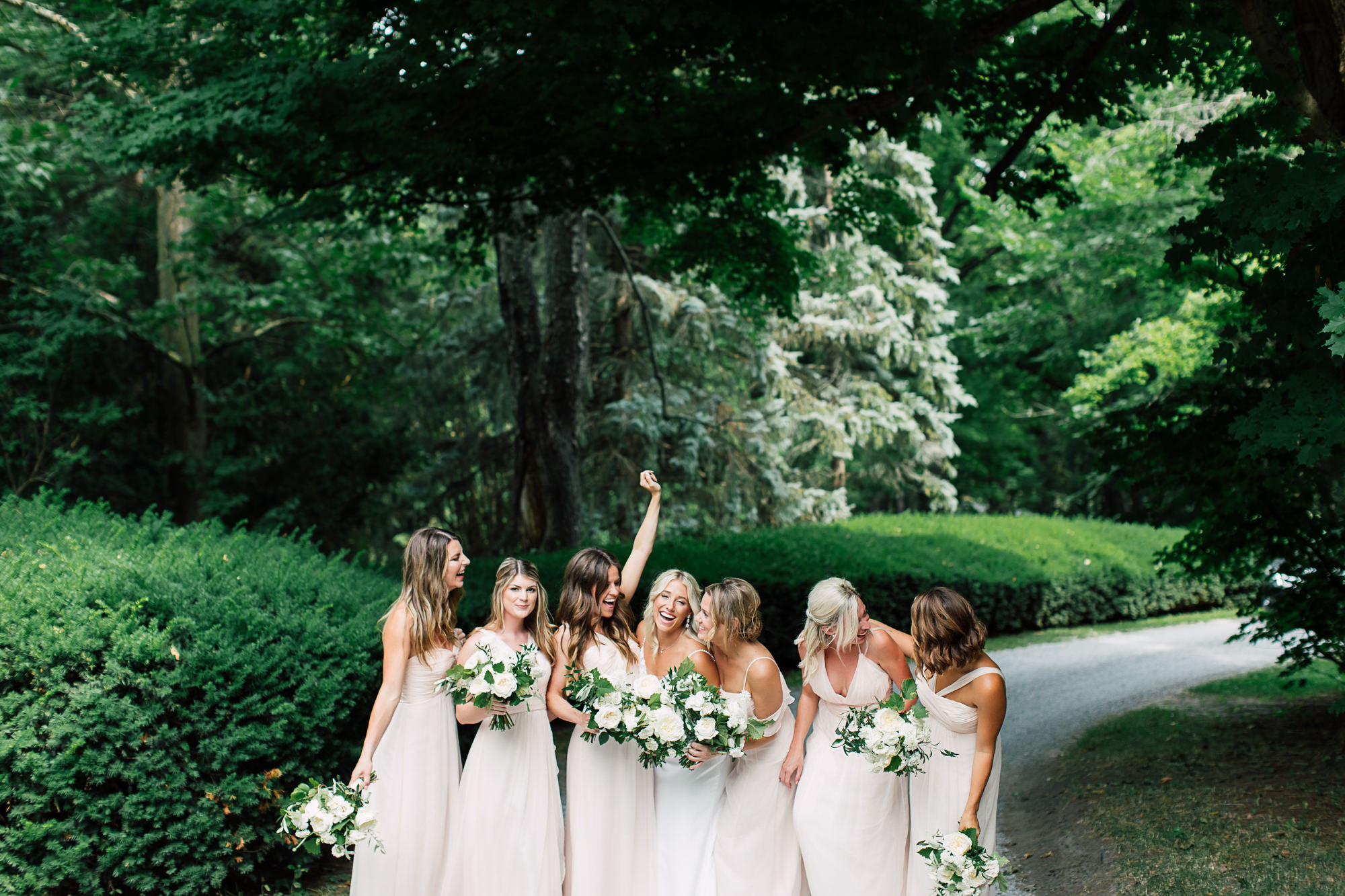 laughing bridesmaids