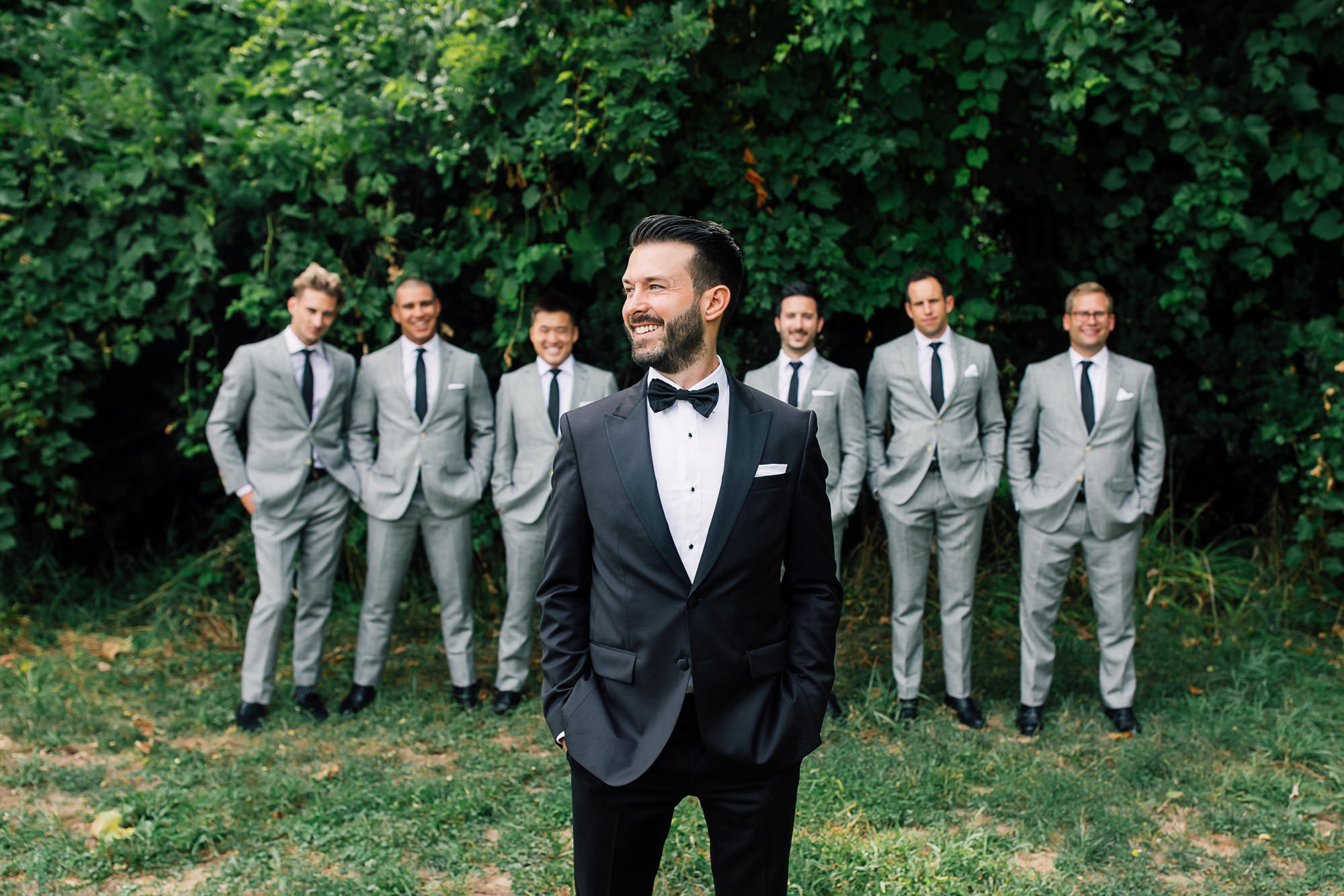 tuxedo groom grey suits