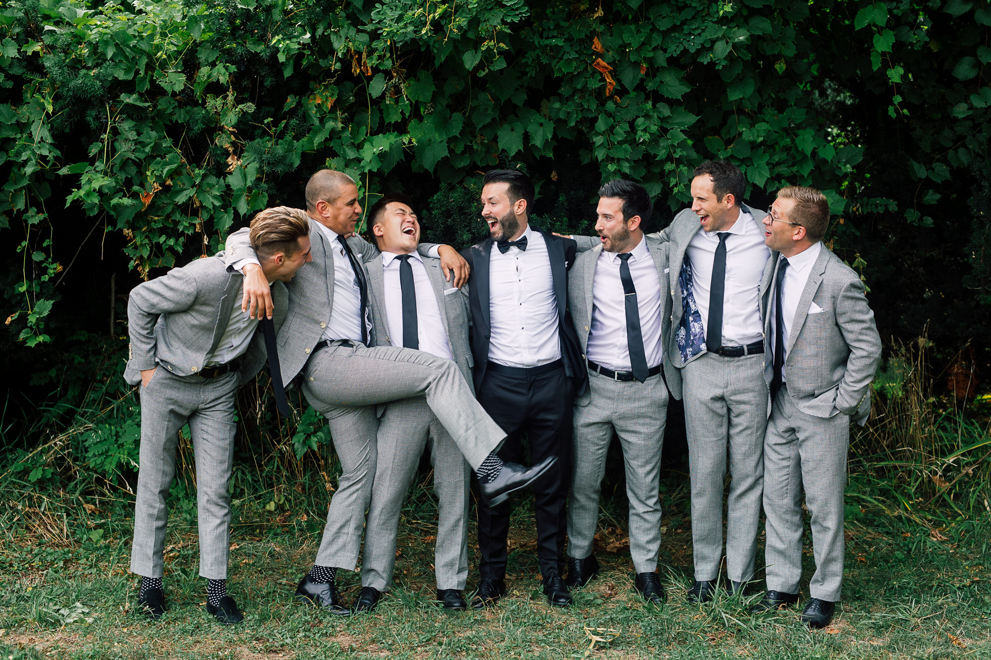 grey suit groomsmen