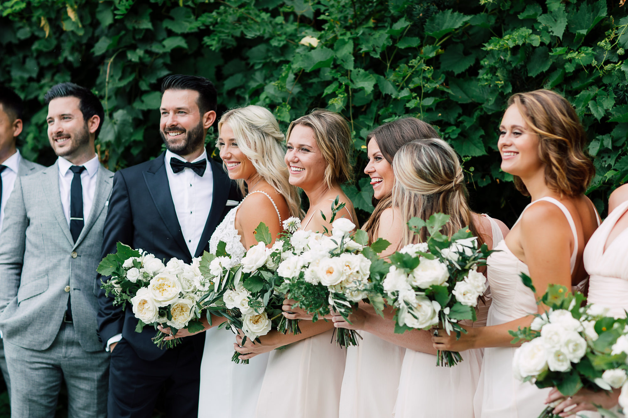 candid wedding bridal party