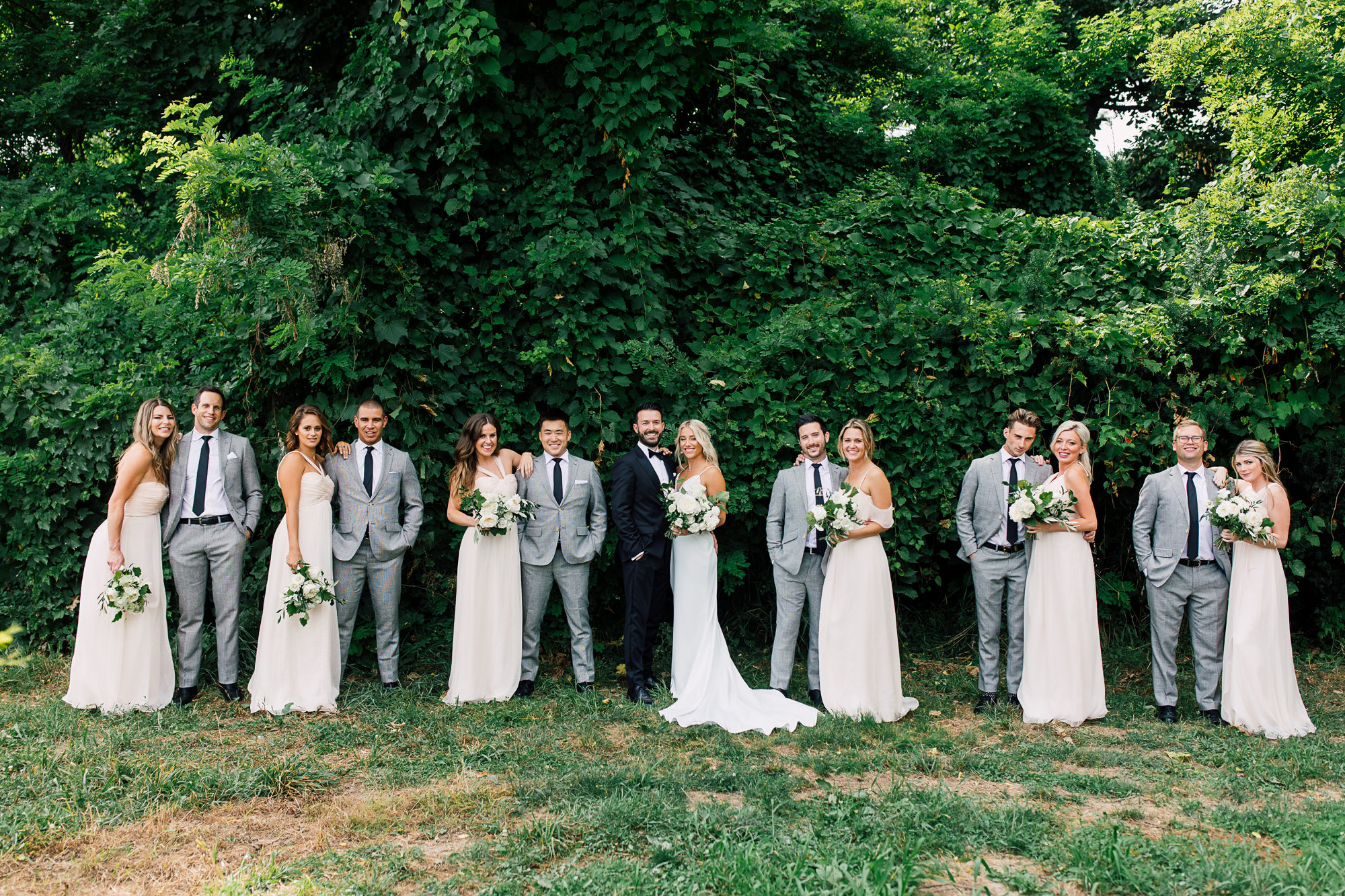 blush grey bridal party