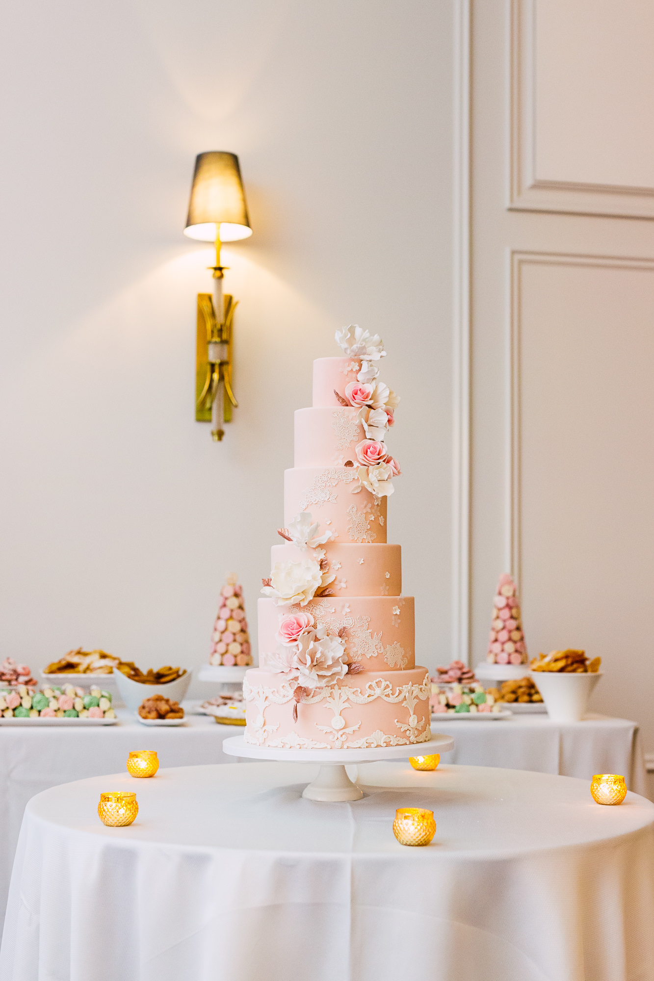 sweet philosophy pink wedding cake