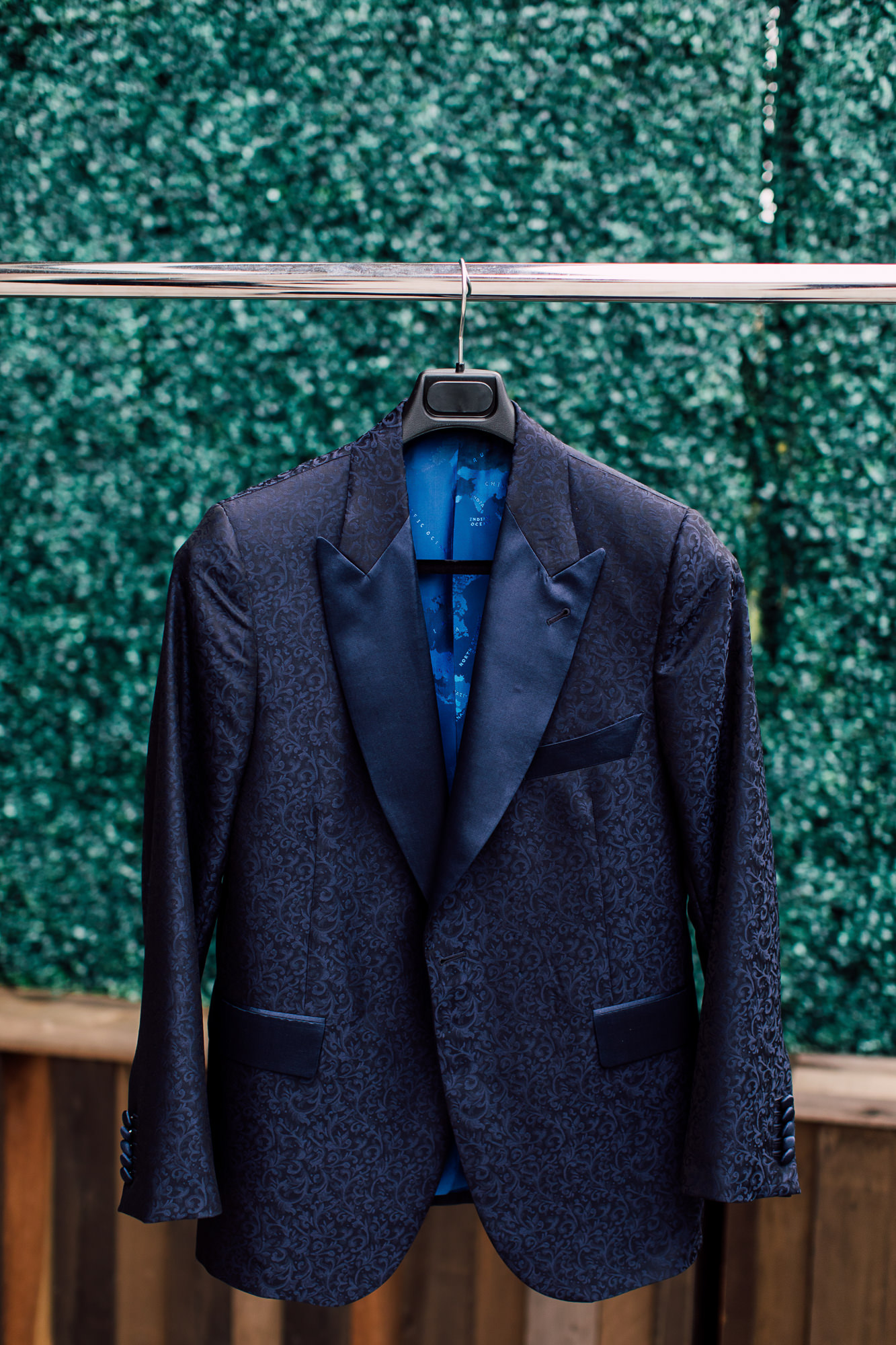 navy patterned groom suit