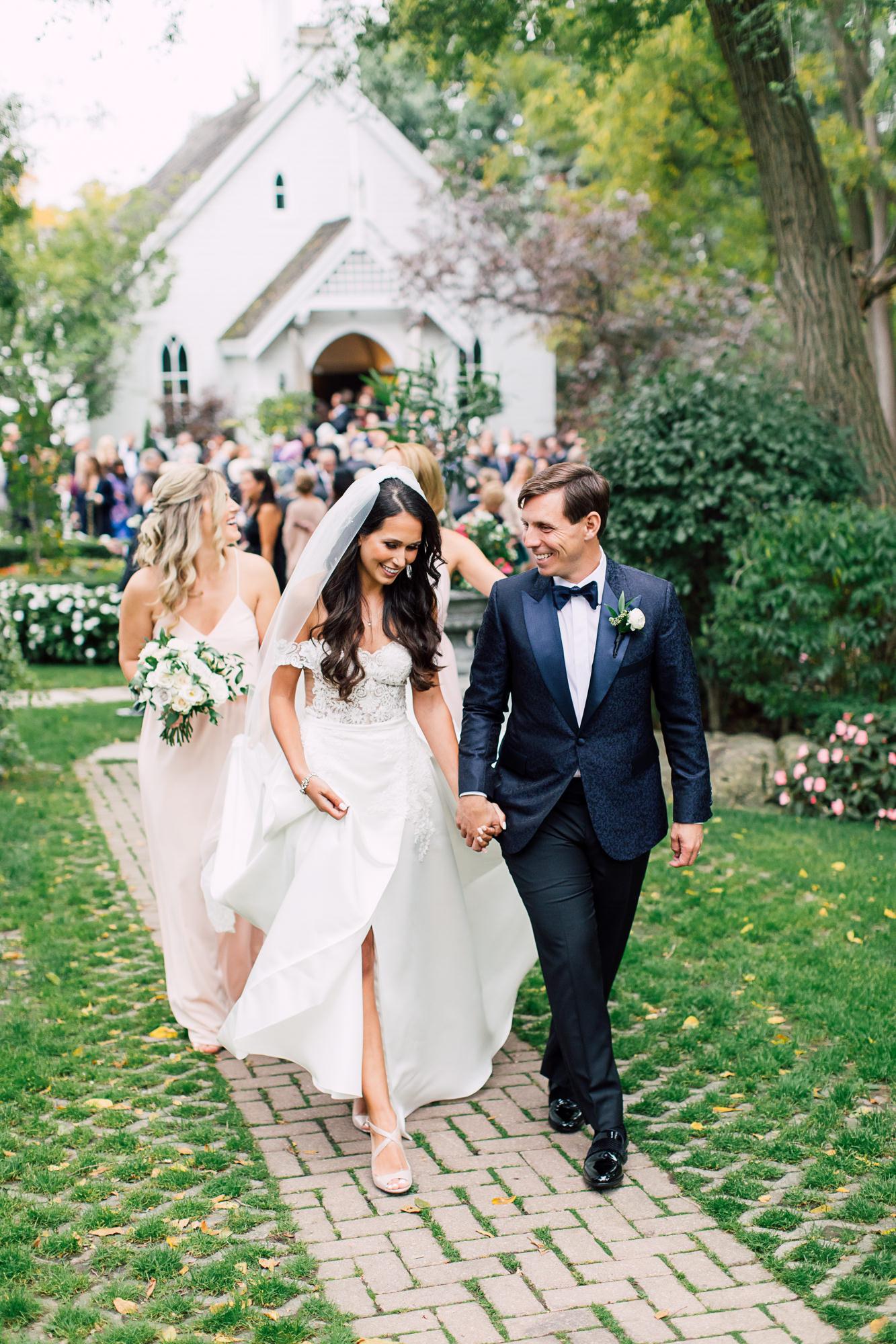 candid wedding recessional