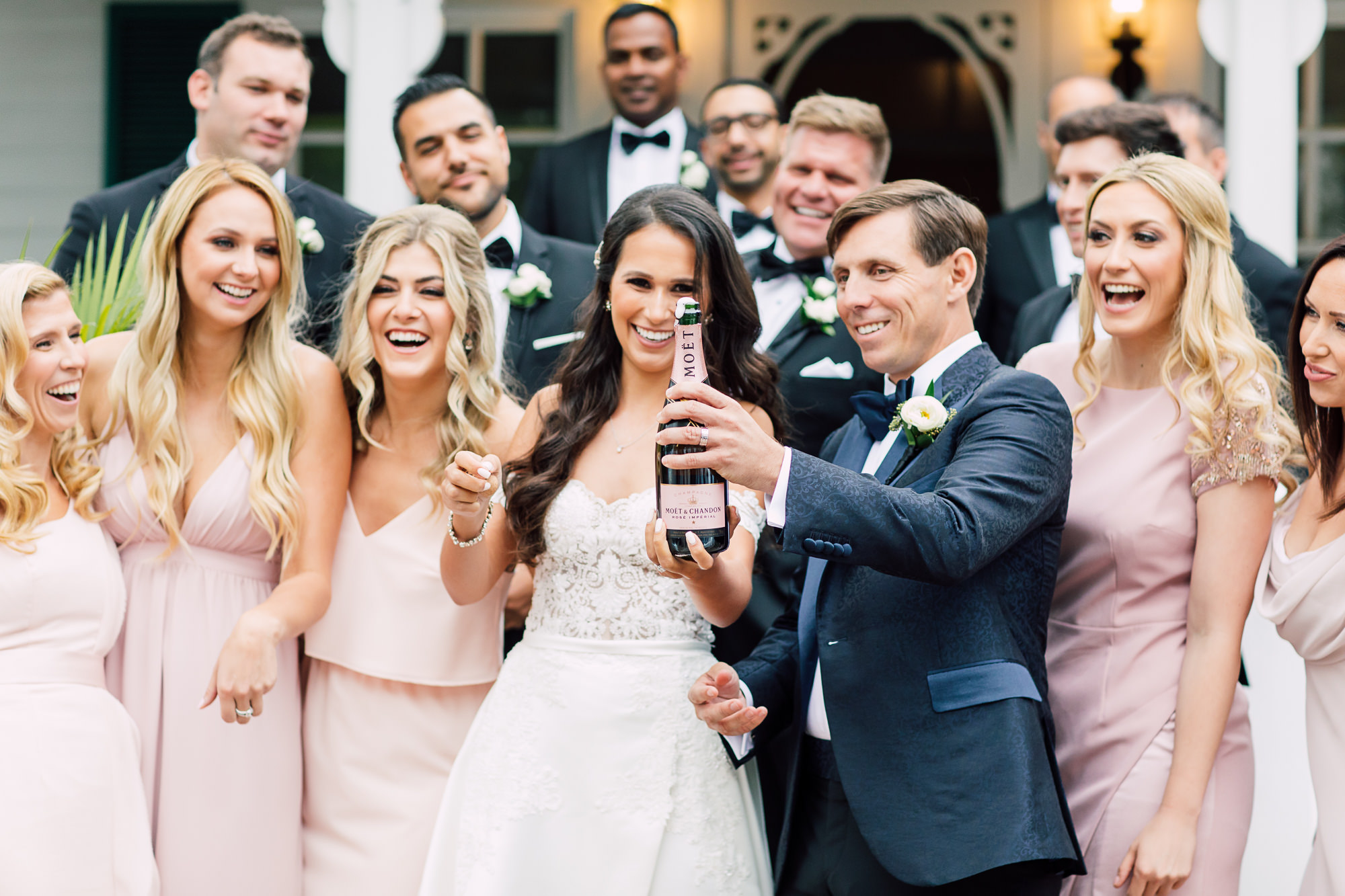 pink champagne bridal party