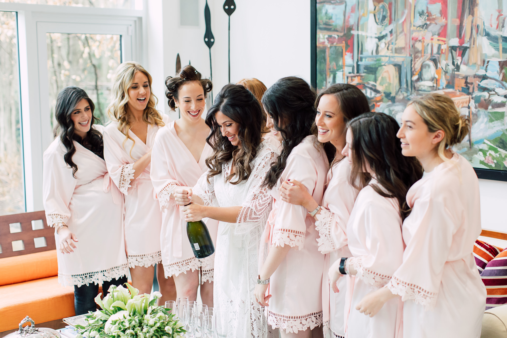 bridal party champagne