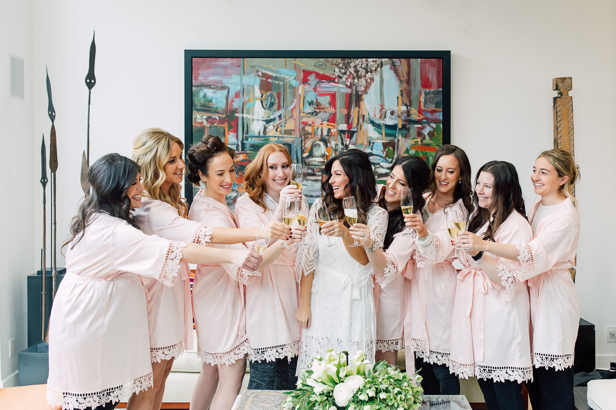 bridesmaid party champagne