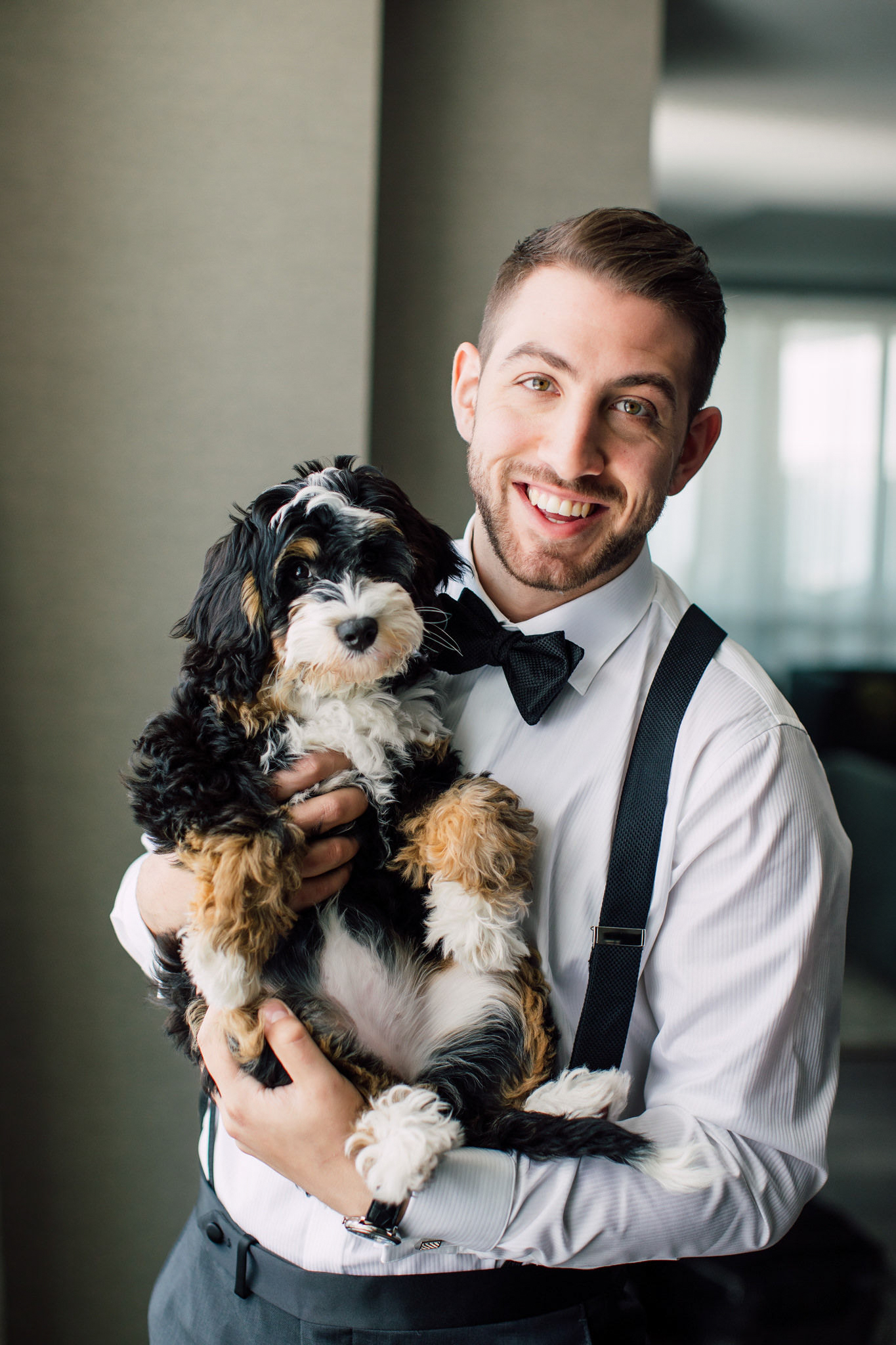 Groom and dog